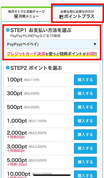 支払い方法と、購入したいポイントを選択